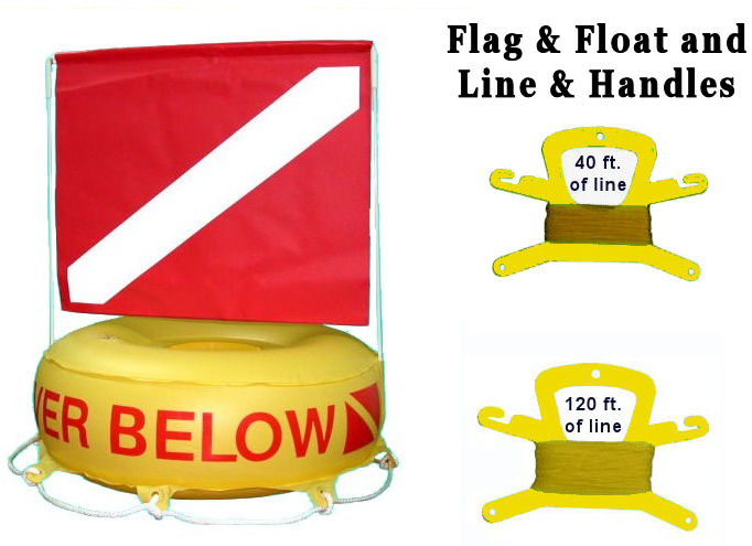 Diver Below Inflatable Tube Signal Float Dive Flag Yellow Bouy Ball