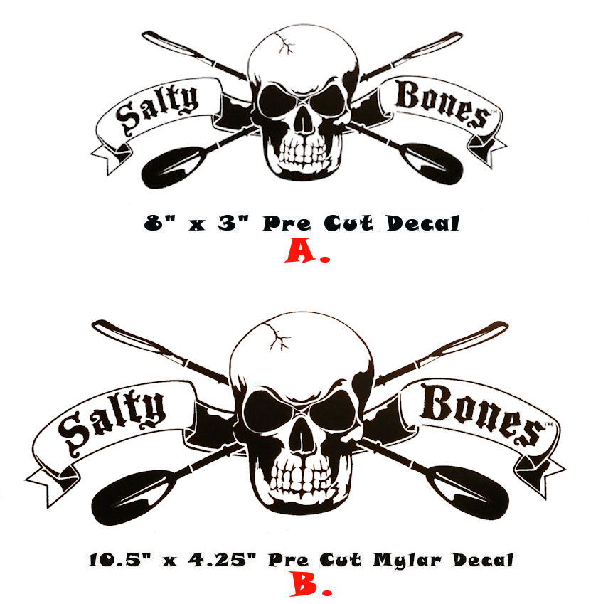 Salty bones paddling kayak sticker decal