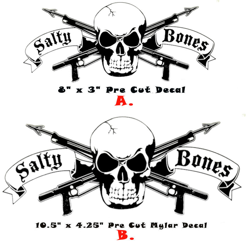 Salty bones stickers decals bumper window automotive car for Diving and fishing mural